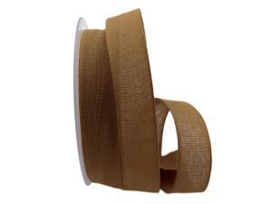Baumwollband Cotton braun / senfgelb 25mm ohne Draht - Geschenkband günstig online kaufen!