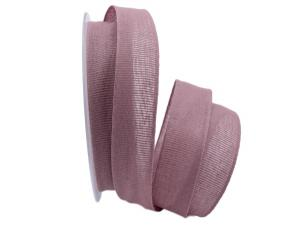 Baumwollband Cotton mauve / rosa dunkell 25mm ohne Draht