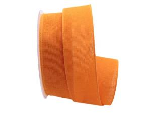 Baumwollband Cotton orange hell 40mm ohne Draht