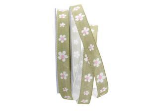 Blumenband Fiore hellgrün 15mm mit Angelschnur