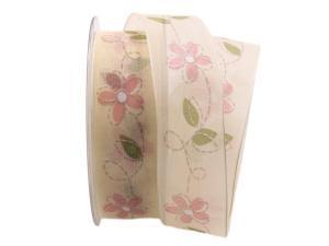 Blumenband Giocoso rosa 40mm mit Draht - Geschenkband günstig online kaufen!