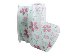 Blumenband Giocoso türkis 40mm mit Draht - Schleifenband günstig online kaufen!