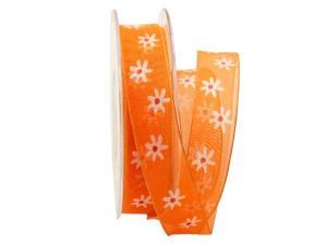 Blumenband Mageritha orange 25mm mit Draht