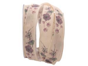 Blumenband Mainau creme 25mm mit Draht