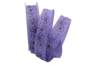 Blumenband moderne Blume lila 25mm mit Draht
