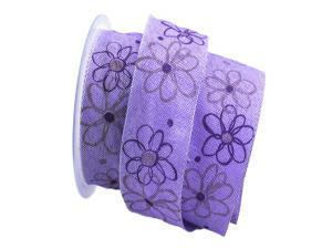 Blumenband moderne Blume lila 40mm mit Draht