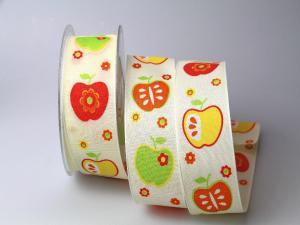 Dekoband Apfel rot 40mm mit Draht - Dekoband günstig online kaufen!