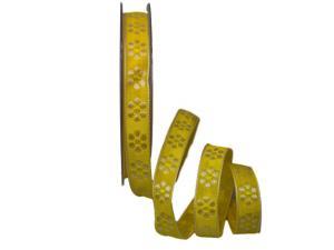 Dekoband Blümchen gewebt gelb 15mm ohne Draht