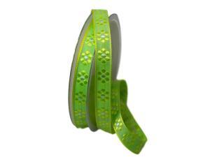 Dekoband Blümchen gewebt hellgrün 15mm ohne Draht