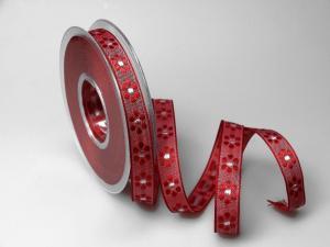 Dekoband Blümchen gewebt rot 15mm ohne Draht