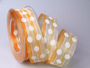 Dekoband Dots orange 40mm mit Draht - Dekoband günstig online kaufen!