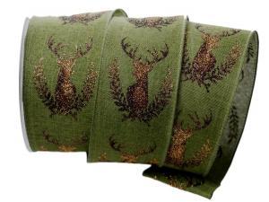 Dekoband Edelhirsch grün mit Draht 65mm