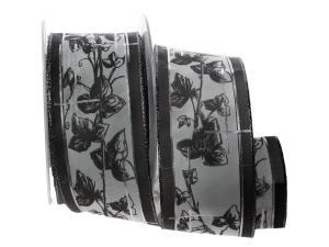 Trauerband Efeu grau ohne Draht 65mm
