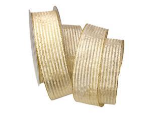 Dekoband Goldstreifen creme mit Nylonkante 40mm