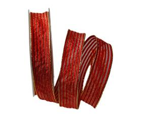 Dekoband Goldstreifen rot mit Nylonkante 25mm