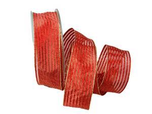 Dekoband Goldstreifen rot mit Nylonkante 40mm