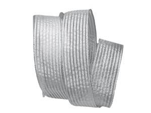 Dekoband Silberstreifen weiß mit Nylonkante 40mm