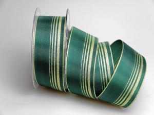 Dekoband Green Line grün 40mm ohne Draht - Dekoband günstig online kaufen!