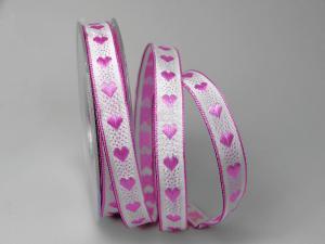 Dekoband Herzchen gewebt pink 15mm mit Draht - Dekoband günstig online kaufen!
