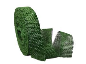 Dekoband Jute dunkelgrün 40mm ohne Draht