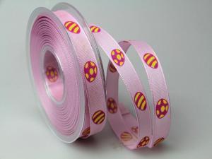 Dekoband Osterei pink 15mm mit Draht