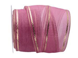 Dekoband Pinky 60mm pink / gold mit Draht