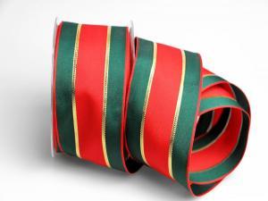 Dekoband Red Carpet 65mm rot grün mit Draht - im Bänder Großhandel günstig kaufen!