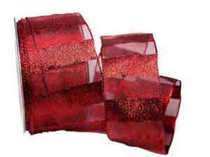 Dekoband Redlines rot 65mm mit Draht
