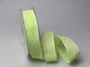 Dekoband Rustico hellgrün 25mm ohne Draht