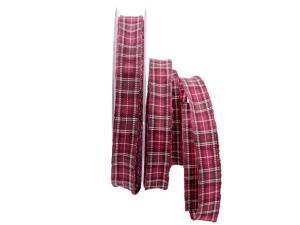 Dekoband Schottenkaro pink 15mm mit Draht