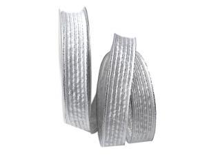 Dekoband Silberstreifen weiß mit Nylonkante 25mm