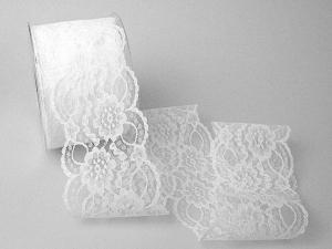 Dekoband Spitze 70mm weiß ohne Draht - Geschenkband günstig online kaufen!