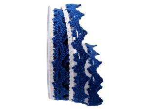 Dekoband Spitze blau / weiß 25mm ohne Draht