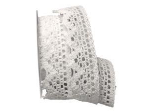 Dekoband Spitze 40mm weiß ohne Draht