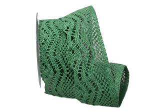 Dekoband Spitze 65mm grün ohne Draht