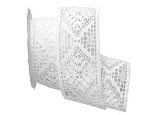 Dekoband Spitze geklöppelt 65mm weiß ohne Draht