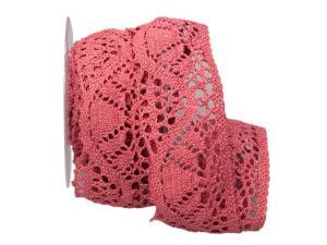 Dekoband Spitze rosa 60mm ohne Draht