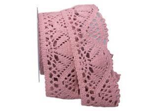 Dekoband Spitze rosa hell 60mm ohne Draht