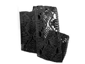 Dekoband Spitze schwarz 65mm ohne Draht
