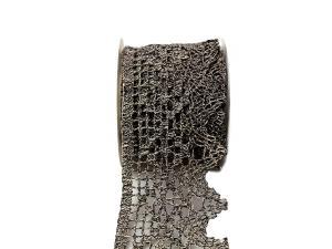 Dekoband Spitze schwarz mamoriert ca. 105mm ohne Draht