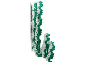 Dekoband Spitze weiß / grün  15mm ohne Draht