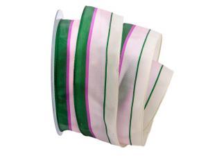 Dekoband Streifen creme / rosa / grün 40mm mit Draht - Geschenkband günstig online kaufen!