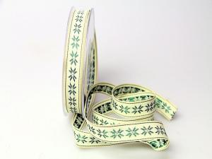 Dekoband Traditional grün 15mm ohne Draht