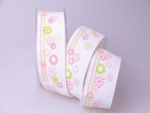 Dekoband Wild Flowers rosa 40mm mit Draht - Dekoband günstig online kaufen!