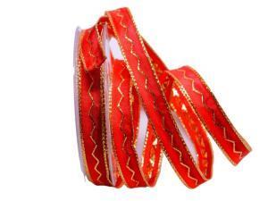 Dekoband Zigzag rot 15mm mit Draht - Dekoband günstig online kaufen!