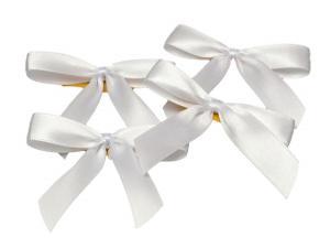 Fertigschleife 2-Flügel weiß 15mm 25 Stück - Schleifenband günstig online kaufen!