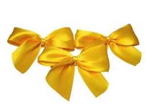 Fertigschleife 2-Flügel gelb 25mm 25 Stück - Schleifenband günstig online kaufen!