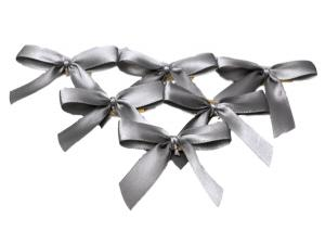 Fertigschleife 2-Flügel grau 15mm 25 Stück - im Bänder Großhandel günstig kaufen!