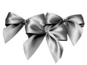 Fertigschleife 2-Flügel grau 25mm 25 Stück - im Bänder Großhandel günstig kaufen!