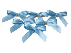 Fertigschleife 2-Flügel hellblau 15mm 25 Stück - im Bänder Großhandel günstig kaufen!